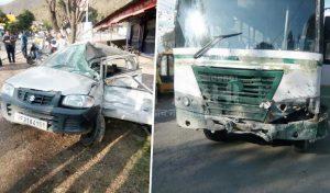 HRTC Bus और कार में टक्कर, महिला की गई जान-दो पहुंचे अस्पताल
