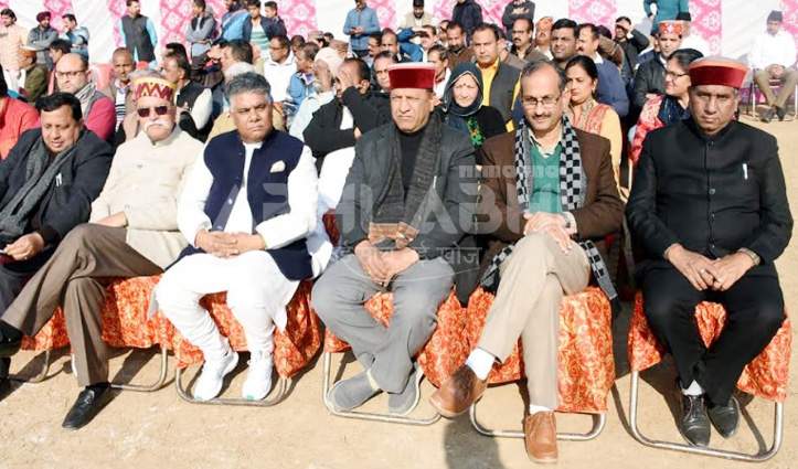 RSS के कार्यक्रम में पहुंचे बीजेपी अध्यक्ष बिंदल, सत्ती भी थे संग