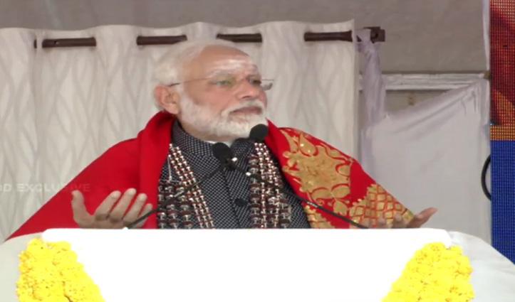 श्रीसिद्धगंगा मठ पहुंचे PM मोदी, विपक्ष से पूछा- पाक के खिलाफ मुंह पर ताला क्यों?