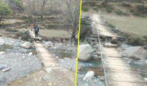 स्कूली बच्चे जान जोखिम में डाल पार कर रहे खस्ताहाल पुल, कुछ करो सरकार