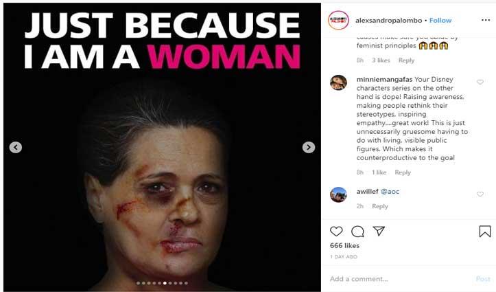 इटालियन कलाकार ने महिलाओं से हिंसा दिखाने के लिए इस्तेमाल की सोनिया-मिशेल की फोटो