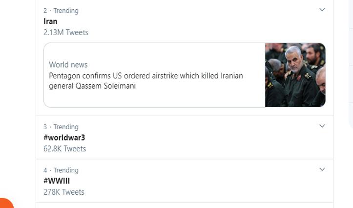 तीसरा विश्व युद्ध: अमेरिका-ईरान में हुआ घमासान, ट्विटर पर ट्रेंड कर रहा #WorldWar3