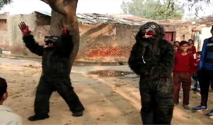 बंदरों को भगाने के लिए भालू की ड्रेस पहनकर घूम रहे ग्रामीण, जानें पूरा मामला