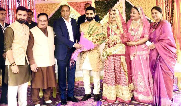 नव विवाहित को आशीर्वाद देने Nadda के घर पहुंचे राज्यपाल, सीएम सहित कई नेता