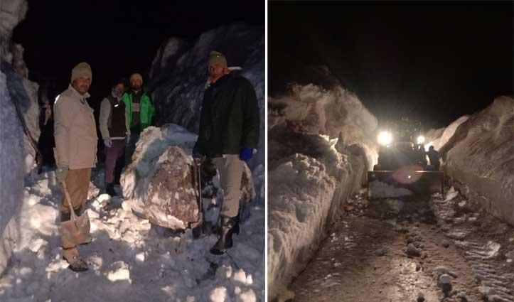 तेलिंग नाला में गिरी बड़ी चट्टान, दो गाड़ियां और कई लोग फंसे
