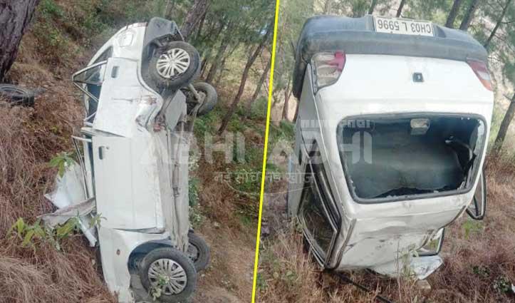 राजगढ़ के समीप खाई में गिरी Car, दंपति घायल- PGI रेफर