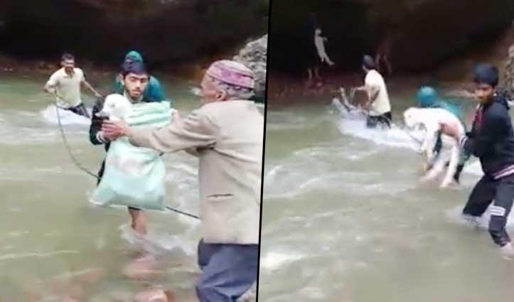 उफनती खड्ड में भेड़-बकरियों सहित Chamba के गद्दी की अटकी सांसें-वीडियो वायरल