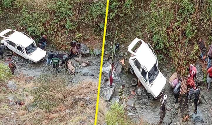 साहो मार्ग पर गहरी खाई में गिरी Car: 2 की गई जान, दो घायल