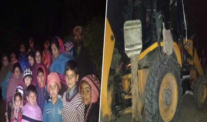 ढांक से लटकी JCB, रात के अंधेरे में घर छोड़ भागे लोग