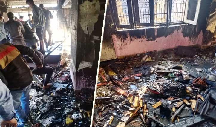 गोंदपुर बनेहड़ा में एक रिहायशी मकान में Fire, सामान जल कर राख