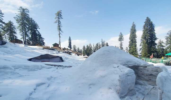 नारकंडा के नेचर कैंप में बनाया Snow igloo, सैलानी उठा रहे लुत्फ