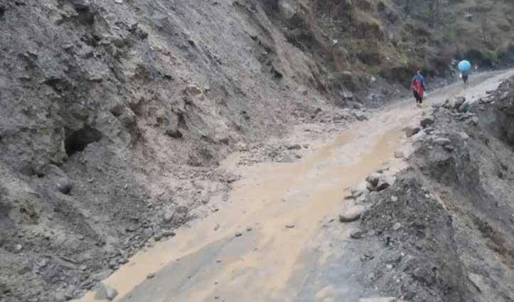 चंबा-लंगेरा सड़क मार्ग पर Landslide, बड़े वाहनों को लिए बंद