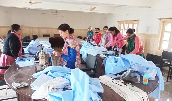 स्वास्थ्य कार्यकताओं के लिए स्वंय सहायता समूह बना रहे PPE Kit