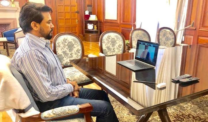 Anurag Thakur ने हमीरपुर के बीजेपी पदाधिकारियों से की बात