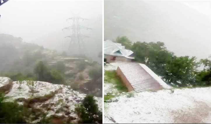 मौसम का कहरः पहाड़ी से चट्टान गिरने से व्यक्ति की मौत, ओलावृष्टि से सेब की फसल को नुकसान