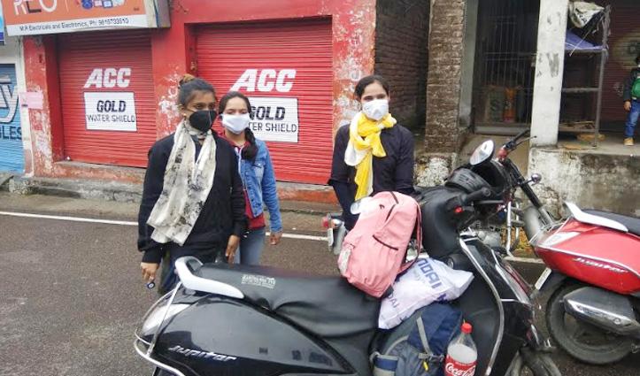 परमिट मिलने के बाद चंडीगढ़ से स्कूटी पर निकल पड़ी Kangra की तीन बेटियां