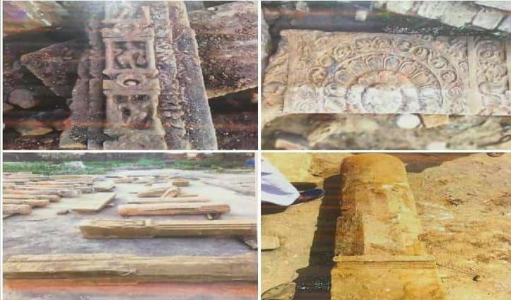 Ayodhya: राम मंदिर के लिए खुदाई के दौरान मिली देवी-देवताओं की प्राचीन मूर्तियां, खंभे व शिवलिंग