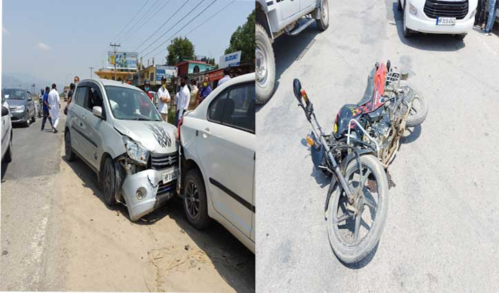 Chandigarh-Manali NH 21 पर कार-बाइक में जोरदार टक्कर, बाइक सवार घायल