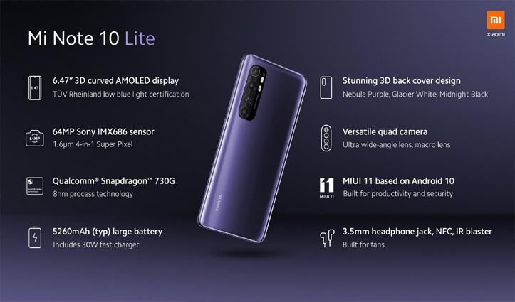 Mi Note 10 Lite: 3D कर्व्ड AMOLED डिस्प्ले के साथ हुआ लॉन्च, जानें कीमत और फीचर्स