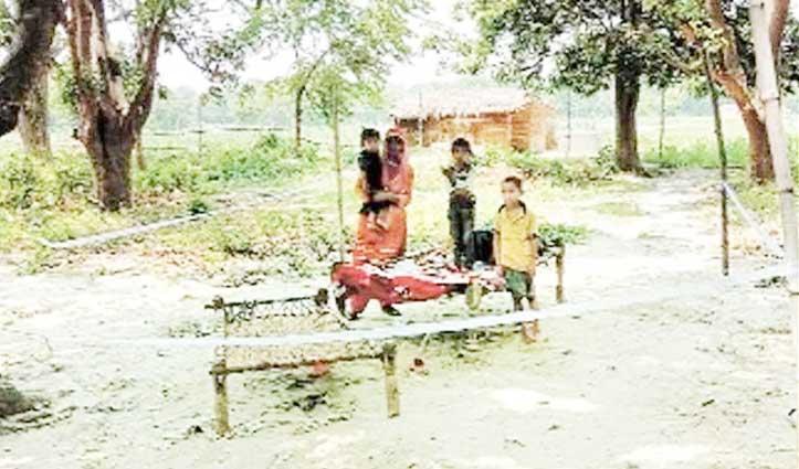 नारीशक्ति : Corona ने ले ली पति की जान, गांव को बचाने तीन बच्चों के साथ बाग में रह रही महिला