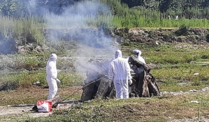 ग्रामीणों के भारी विरोध के बीच हुआ Corona positive रत्ती की महिला का अंतिम संस्कार