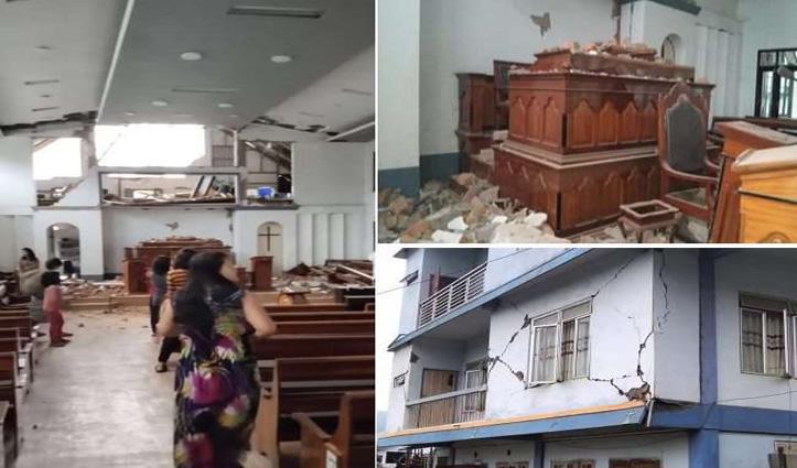 तस्वीरें: मिजोरम में 12 घंटे में 2 बार आया Earthquake, फट गई सड़कें-घर