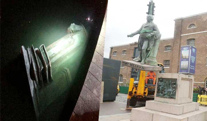 अमेरिका में प्रदर्शनकारियों ने Columbus की प्रतिमा उखाड़ी; London में हटाई गई रॉबर्ट मिलिगन की मूर्ति