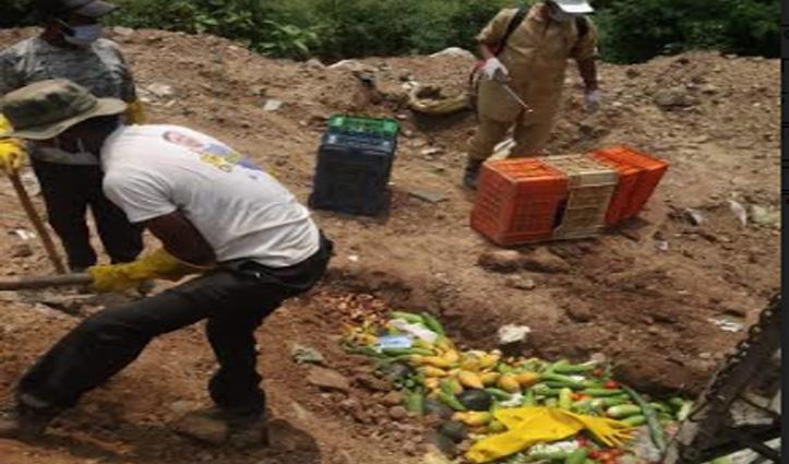 पॉजिटिव युवक के संपर्क में आया सब्जी विक्रेता Quarantine, नष्ट कीं फल-सब्जियां