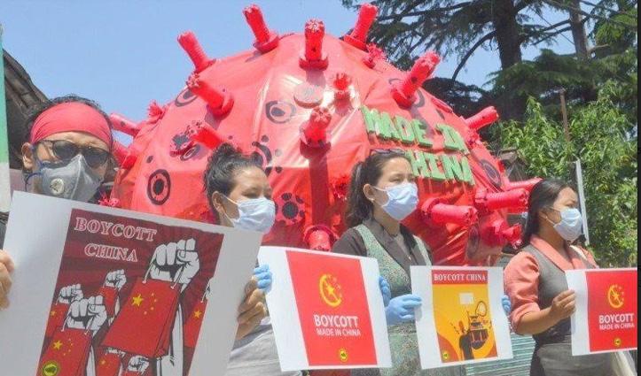 India-China सीमा तनावः मैक्लोडगंज में तिब्बतियों ने चीन के खिलाफ बोला हल्ला