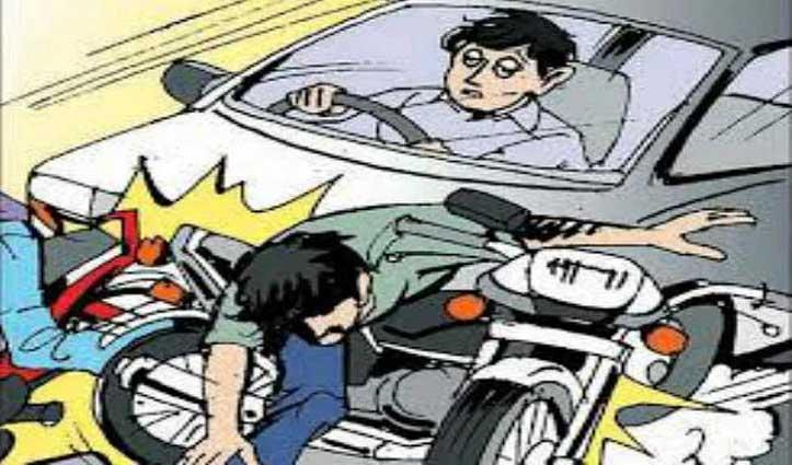 तेज रफ्तार गाड़ी ने बाइक सवार को मारी टक्कर, घायल PGI रेफर