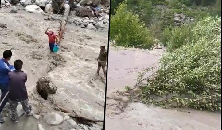किन्नौरः खरोगला नाले में बाढ़, पूरी रात फंसे 6 मजदूर Rescue- फसल तबाह