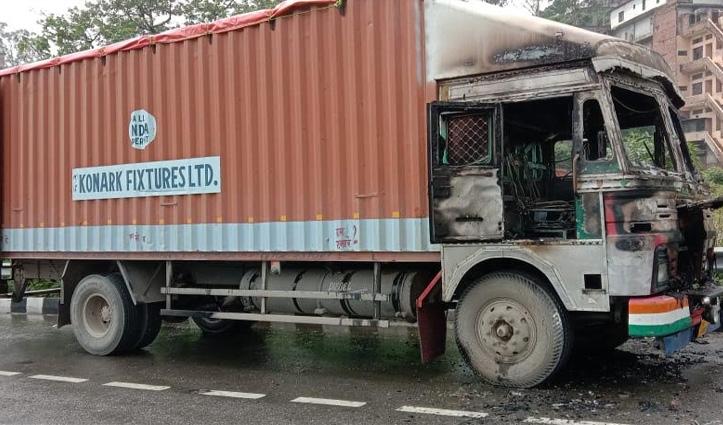 परवाणू में चलते Truck में लगी आग- इंजन, केबिन और केमिकल जला