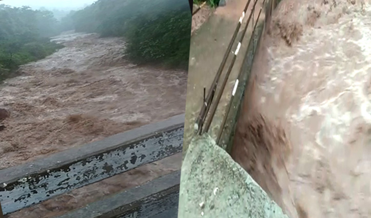 भारी बारिश से मझाड़ा River उफान पर, रौद्र रूप देख दहशत में ग्रामीण- कटा संपर्क