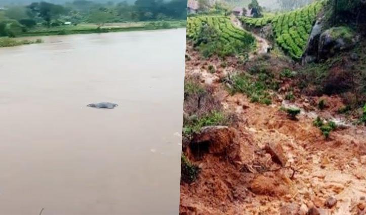 केरल में तबाही के Video: बाढ़ में बह गया हाथी; चाय बागान में Landslide से 14 मरे; 80 दबे