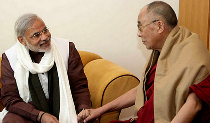 The Dalai Lama Wishing Prime Minister #Narendra_Modi a Happy Birthday