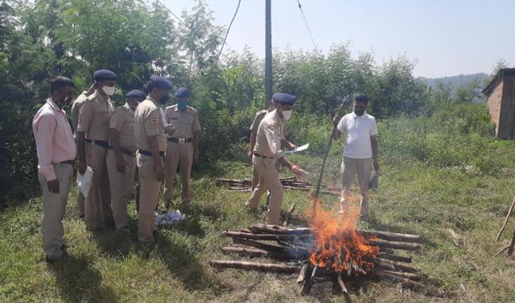 Police Line Hamirpur में नष्ट की चरस और भुक्की