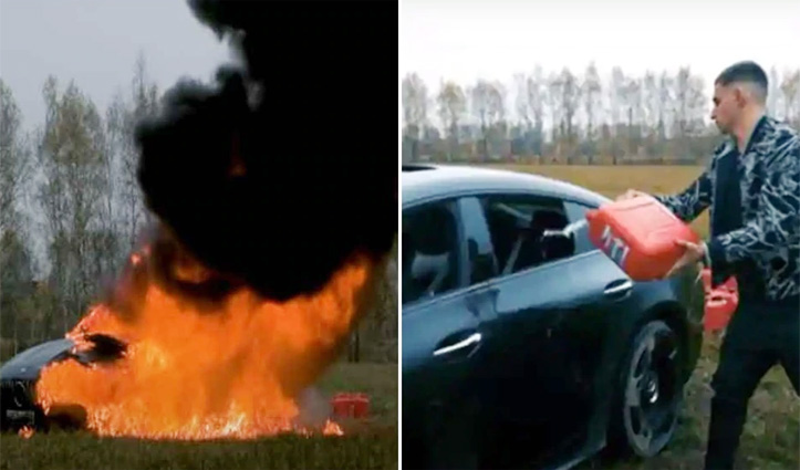 ढाई करोड़ की #Mercedes को लगा दी आग, Video देख फटी रह जाएंगी आंखें