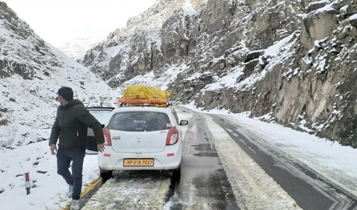 मौसम: लाहुल घाटी में ताजा #Snowfall, रोहतांग, बारालाचा, और कुंजम दर्रा में चार से पांच सेमी बर्फबारी