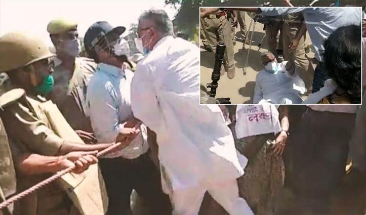 राहुल के बाद अब TMC सांसद डेरेक जमीन पर गिरे, हाथरस सीमा पर पुलिस से हुई झड़प; देखें वीडियो