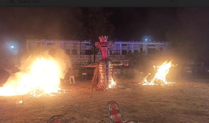 Una में रावण, कुंभकर्ण और मेघनाथ के साथ जला #Corona का पुतला