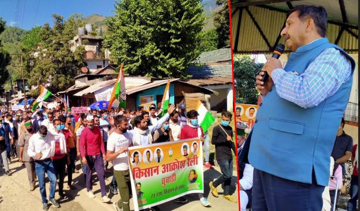Chowari में किसान बिल के विरोध में रैली, धर्मशाला और Una में हाथरस मामले में मौन प्रदर्शन
