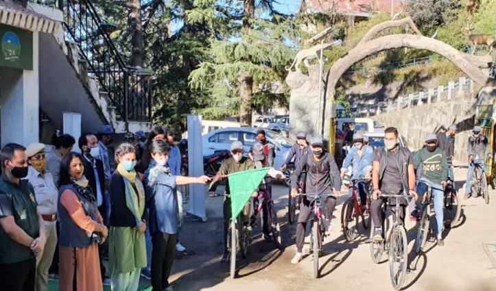 शिमलाः वन्य प्राणी सप्ताह का आगाज, हरी झंडी दिखाकर रवाना की साइकिल रैली