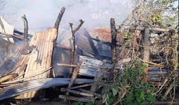 Una में आग का तांडव: रिहायशी मकान और गौशाला जलकर राख, लाखों का नुकसान
