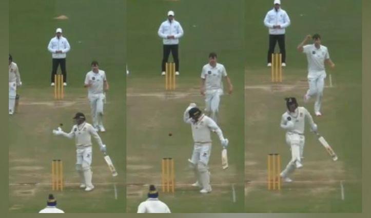 #Video: गेंद को पैर व हाथ मारकर 'फील्ड में बाधा डालने' को लेकर आउट हुआ बल्लेबाज़
