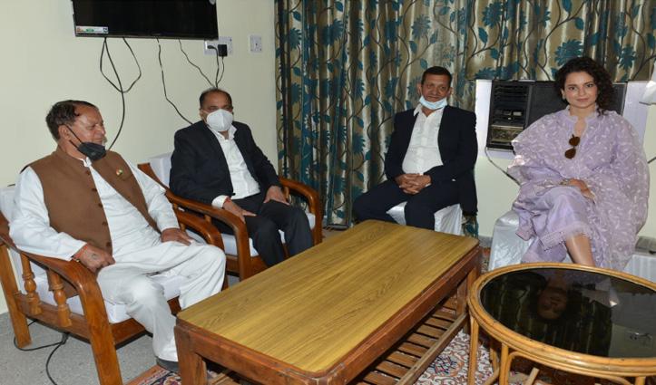 भोरंज पहुंचे CM जयराम से मिलीं #Kangana; दिया भाई की शादी का न्योता