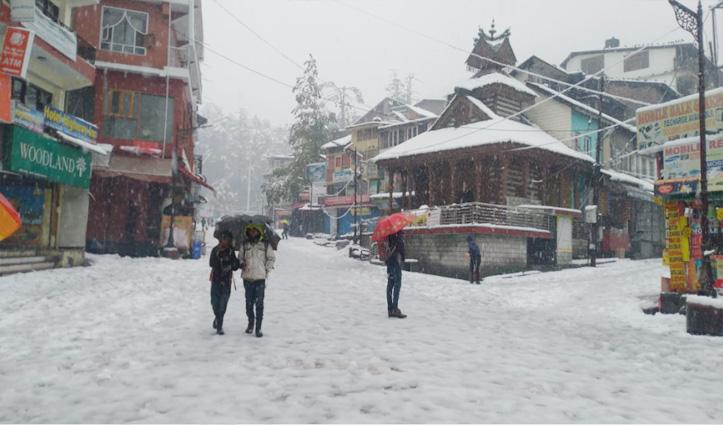 Manali ने ओढ़ी सफेद चादर, मलाणा व जलोड़ी दर्रे पर डेढ़ फीट ताजा #Snowfall