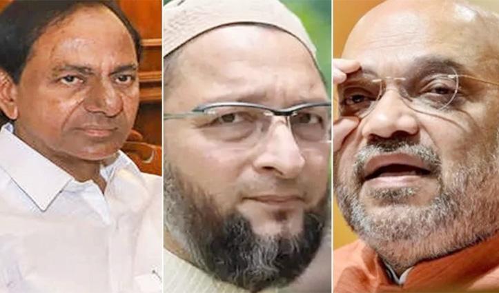 #HyderabadElection : TRS बड़ी पार्टी, #BJP दूसरे, AIMIM तीसरे नंबर पर खिसकी