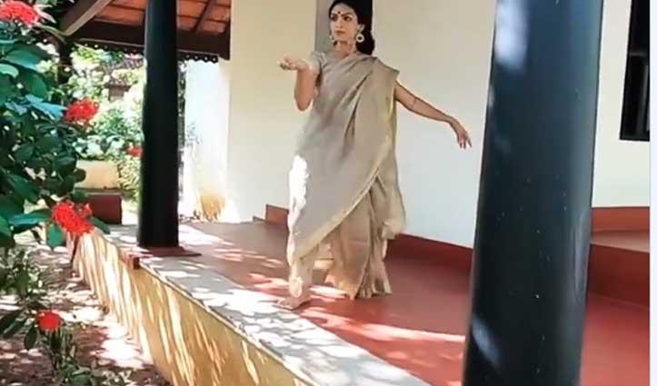 भरतनाट्यम डांसर का #Video_Viral, बरामदे में जबरदस्त डांस मूव्स करती आईं नजर