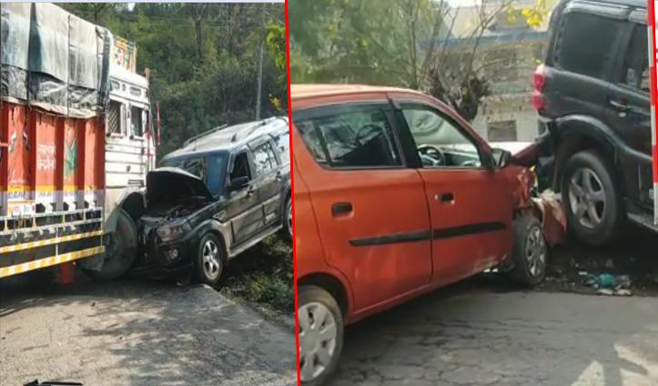 Bilaspur: चंडीगढ़-मनाली NH पर टकराए तीन वाहन, जाने पूरा मामला