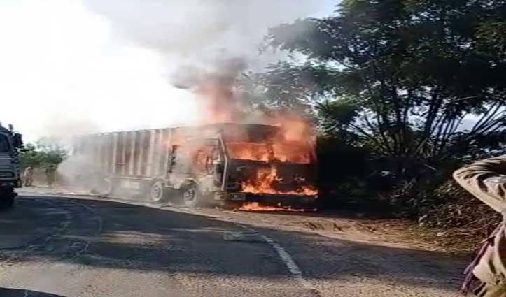 Driver ने ऐसे दी मौत को मात, Manali-Chandigarh Road पर चलते ट्रक में भड़की थी आग